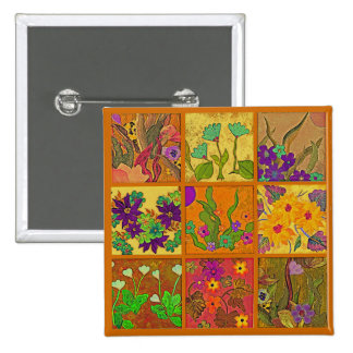 patchwork flowers 3x3 pin