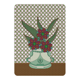 Patchwork Flowers On Lattice Background Card