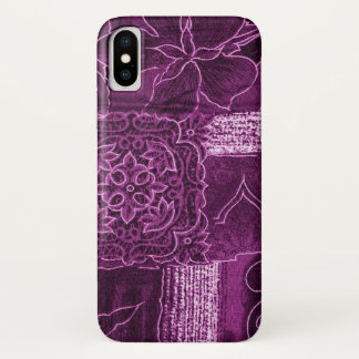 Patchwork, Flowers, Petals, Swirls - Purple iPhone X Case