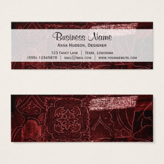 Patchwork, Flowers, Petals, Swirls - Red Mini Business Card