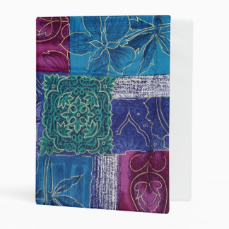Patchwork, Flowers, Swirls - Blue Pink Green Mini Binder