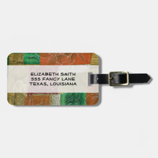 Patchwork, Flowers, Swirls - Orange Green Red Luggage Tag
