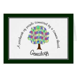 Patchwork Genealogy (Green) Note Card