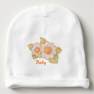 Patchwork Gingham Easter Flowers Baby Beanie