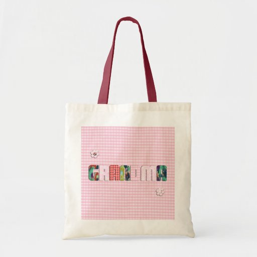 Patchwork 'Grandma' On Checkered Pink Canvas Bags