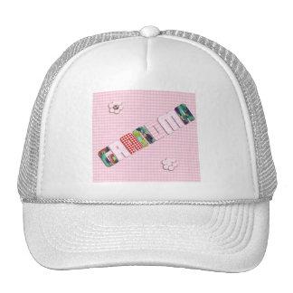 Patchwork 'Grandma' On Checkered Pink Mesh Hats