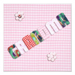 Patchwork 'Grandma' On Checkered Pink 5.25x5.25 Square Paper Invitation Card