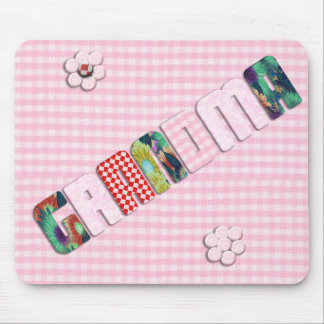 Patchwork 'Grandma' On Checkered Pink Mouse Pad