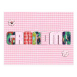 Patchwork 'Grandma' On Checkered Pink Postcard