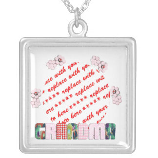 Patchwork 'Grandma' Photo Frame Silver Plated Necklace