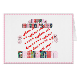 Patchwork 'Grandmum' Mother's Day Photo Frame Greeting Card