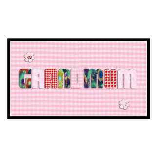 "Patchwork ""Grandmum"" on Checkered Pink Double-Sided Standard Business Cards (Pack Of 100)"