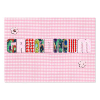 "Patchwork ""Grandmum"" on Checkered Pink Large Business Cards (Pack Of 100)"