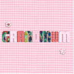 """Patchwork """"Grandmum"""" on Checkered Pink Acrylic Cut Out"""