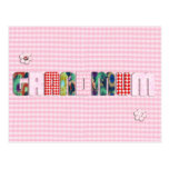 "Patchwork ""Grandmum"" on Checkered Pink Post Card"