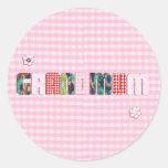"""Patchwork """"Grandmum"""" on Checkered Pink Round Sticker"""