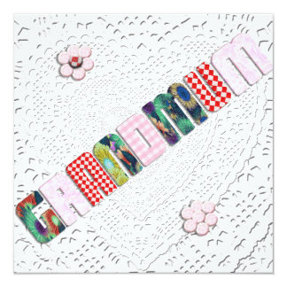"Patchwork ""Grandmum"" on Lace Custom Invitation"