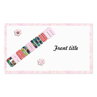 "Patchwork ""Grandmum"" on Pink Roses Double-Sided Standard Business Cards (Pack Of 100)"