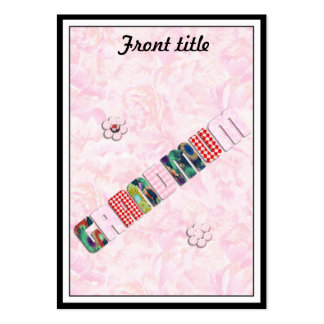 "Patchwork ""Grandmum"" on Pink Roses Large Business Cards (Pack Of 100)"