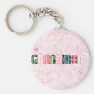Patchwork Grandmum on Pink Roses Keychain