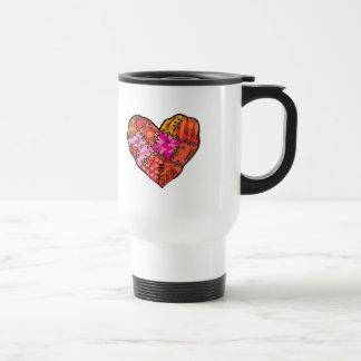 patchwork heart 15 oz stainless steel travel mug