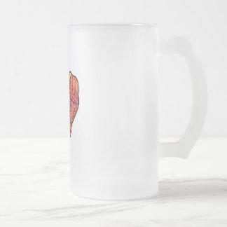 patchwork heart 16 oz frosted glass beer mug