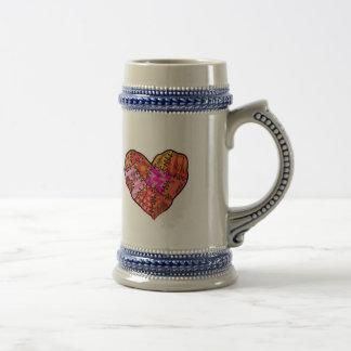 patchwork heart 18 oz beer stein