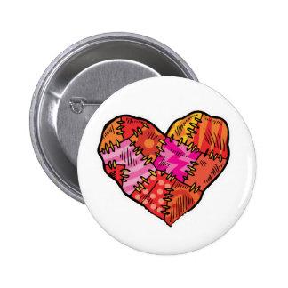 patchwork heart 2 inch round button