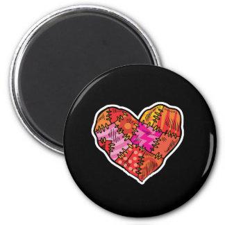 patchwork heart 2 inch round magnet