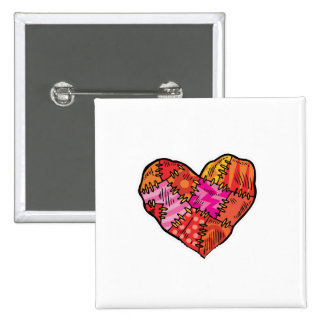 patchwork heart 2 inch square button