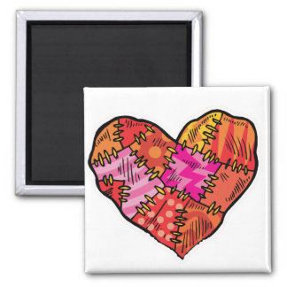 patchwork heart 2 inch square magnet