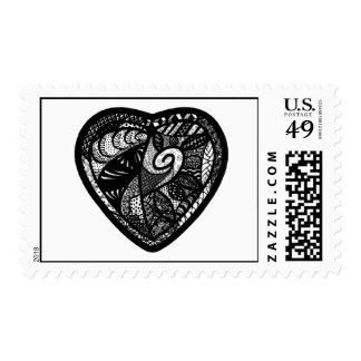 Patchwork Heart Abstract Art Postage