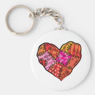 patchwork heart basic round button keychain