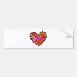 patchwork heart car bumper sticker