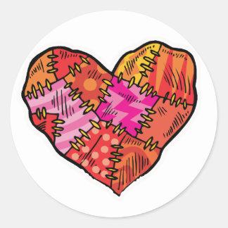 patchwork heart classic round sticker