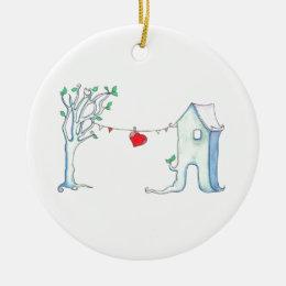 Patchwork heart hanging on clothesline ceramic ornament