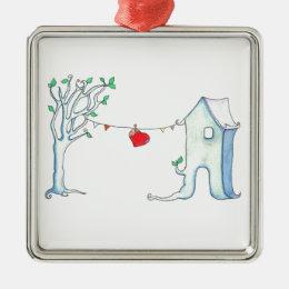 Patchwork heart hanging on clothesline metal ornament