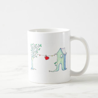 Patchwork heart hung out to dry illustration mug