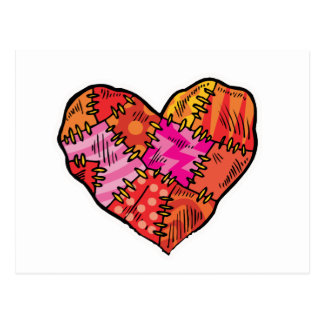 patchwork heart post card