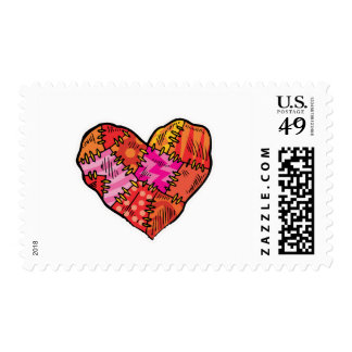 patchwork heart postage