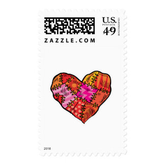 patchwork heart postage stamps