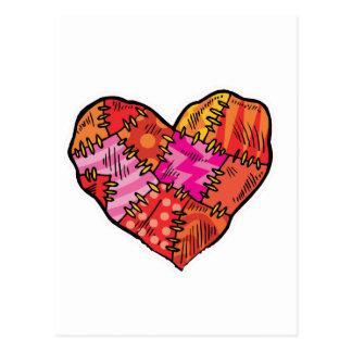patchwork heart postcard
