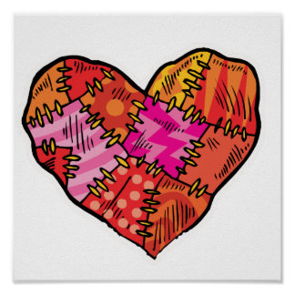 patchwork heart poster