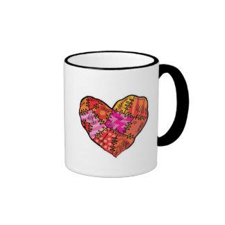 patchwork heart ringer coffee mug