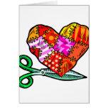 patchwork heart scissors design cards