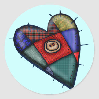Patchwork Heart T-shirts and Gifts Round Sticker