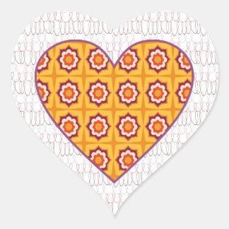 Patchwork  hearts heart sticker
