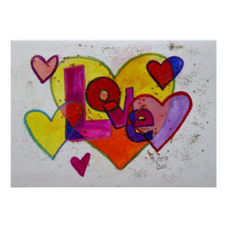 Patchwork Hearts Love Art Painting Poster Print