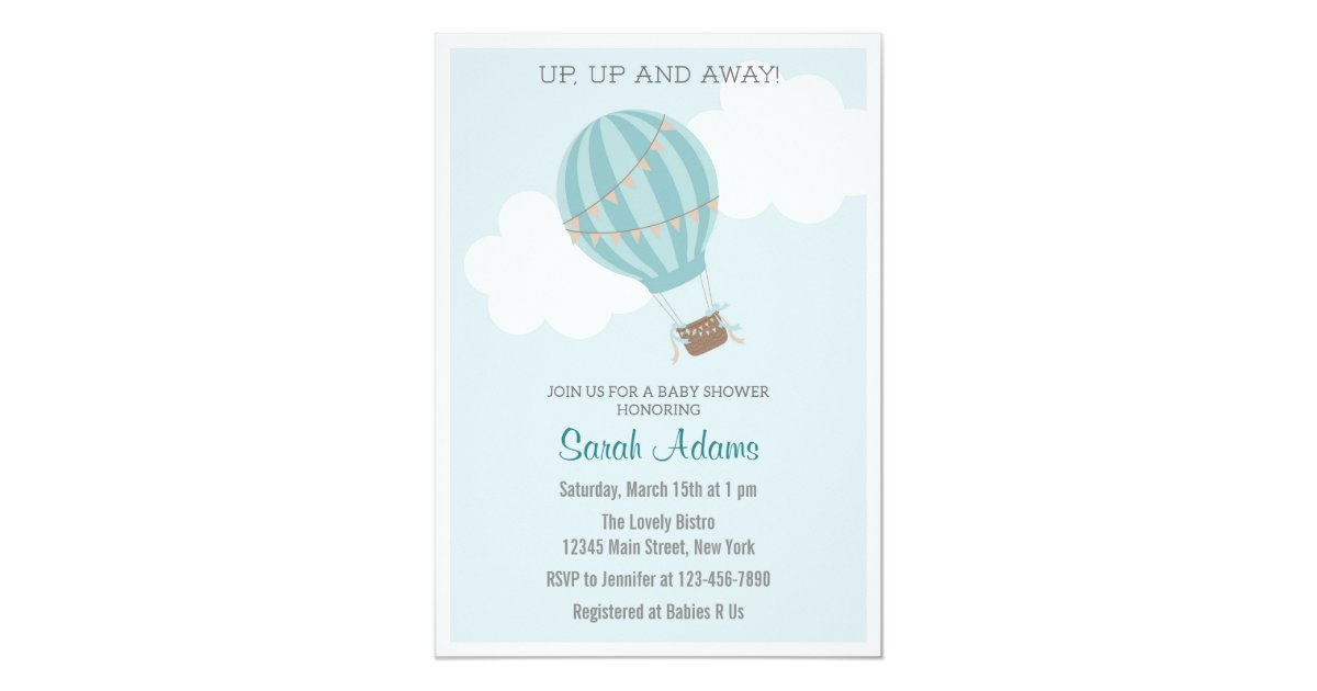 Patchwork Hot Air Balloon Baby Shower Invitation | Zazzle.com
