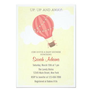 "Patchwork Hot Air Balloon Baby Shower Invitation 5"" X 7"" Invitation Card"